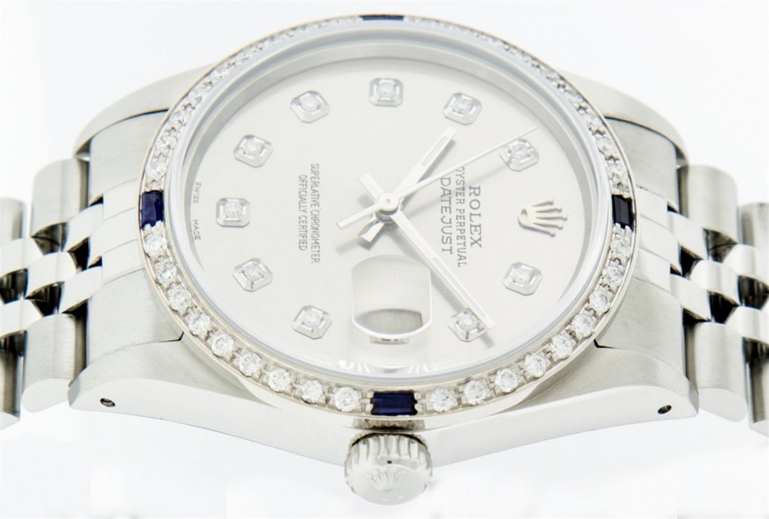 Rolex Mens Stainless Steel Sapphire and Diamond - 7