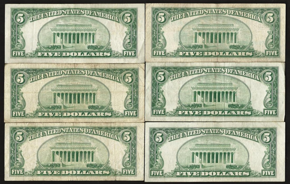 Lot of (6) 1953B $5 Silver Certificate Notes - 2