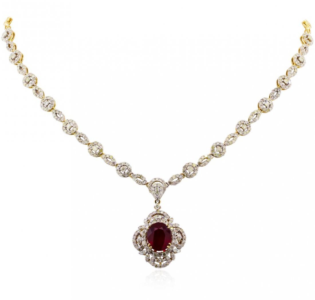 14KT Yellow Gold 7.22ct Ruby and Diamond Necklace