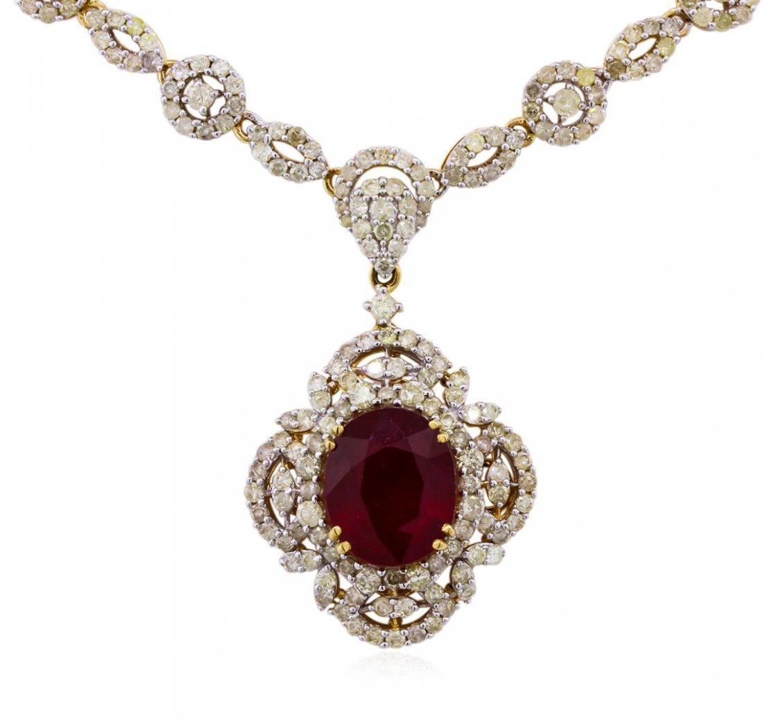14KT Yellow Gold 7.22ct Ruby and Diamond Necklace - 2