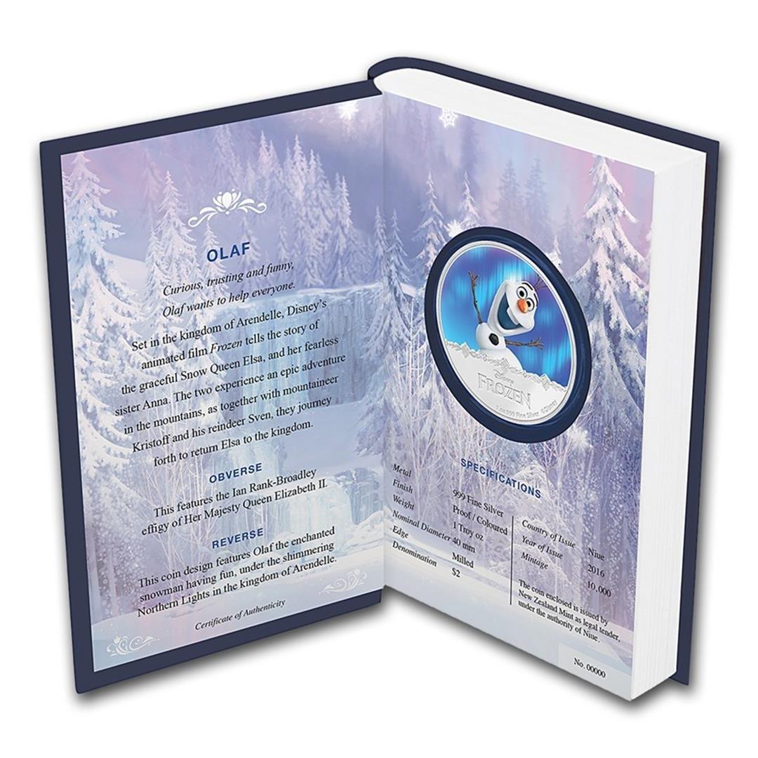 2016 $2 Disney Frozen Olaf .999 Fine Silver Proof Coin - 3