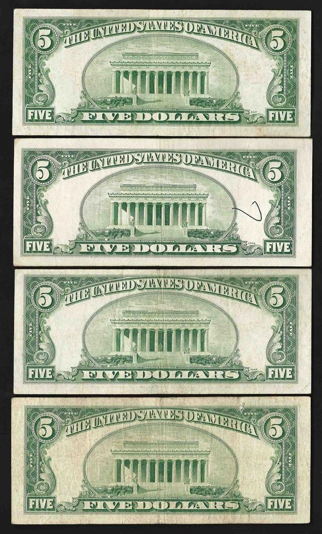 Lot of (4) 1953/A/B/C $5 Legal Tender Notes - 2