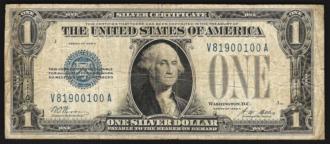 1928A $1 Silver Certificate Funny Back Note