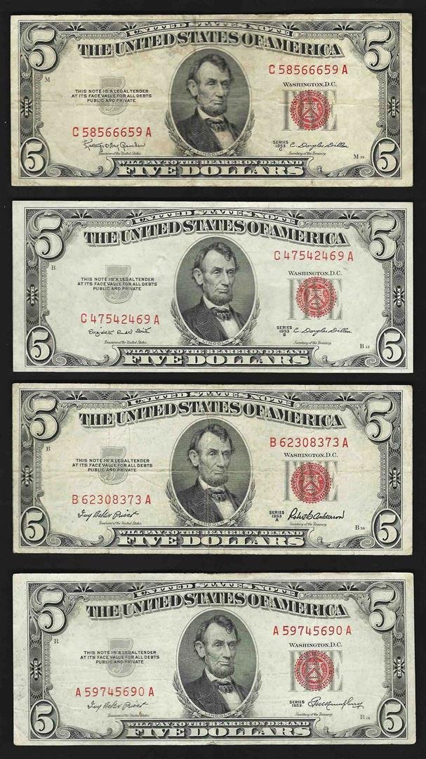 Lot of (4) 1953/A/B/C $5 Legal Tender Notes