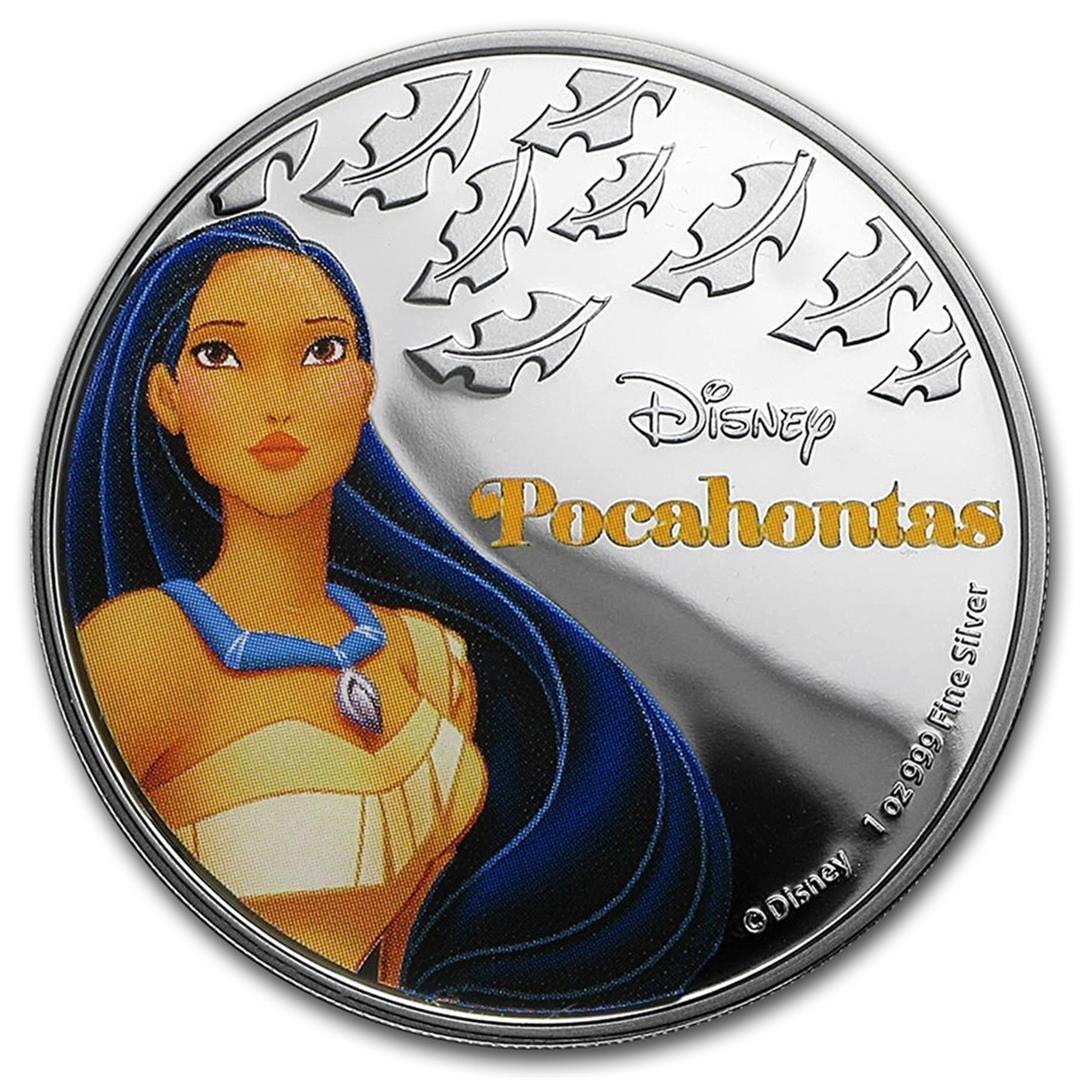 2016 $2 Disney Princess Pocahontas .999 Fine Silver