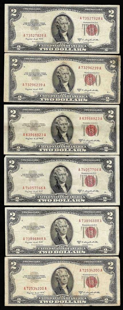 Lot of (6) 1953B $2 Legal Tender Notes