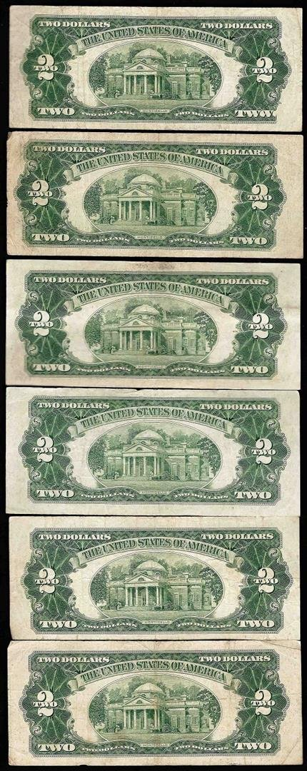 Lot of (6) 1953B $2 Legal Tender Notes - 2