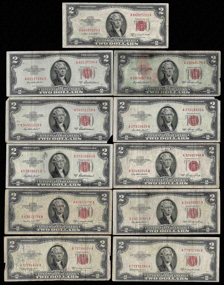 Lot of (11) Assorted 1953 $2 Legal Tender Notes