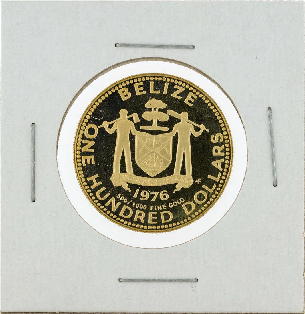 1976 Belize $100 Mayan Symbols Gold Proof Coin - 3