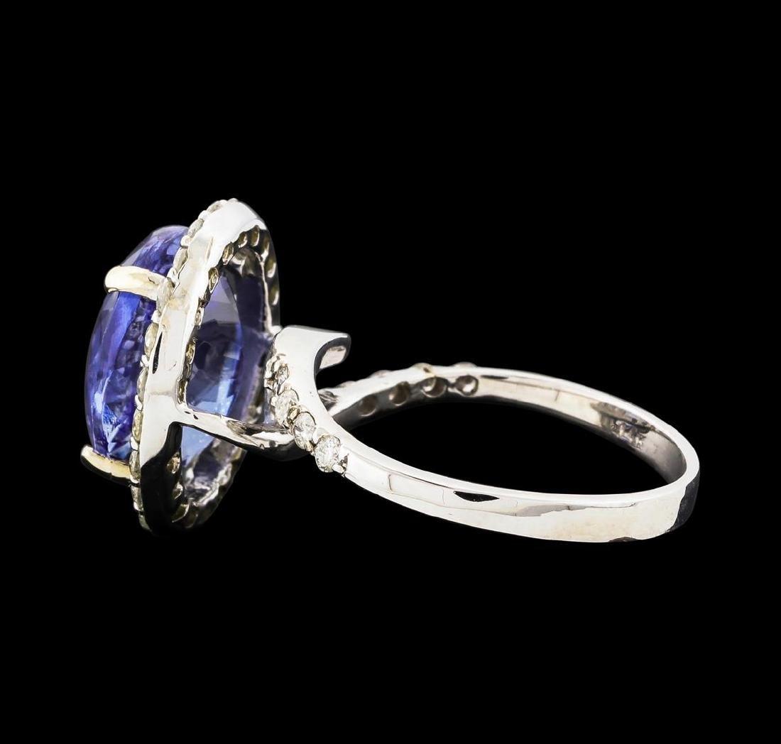 14KT White Gold 5.13ct Tanzanite and Diamond Ring - 3