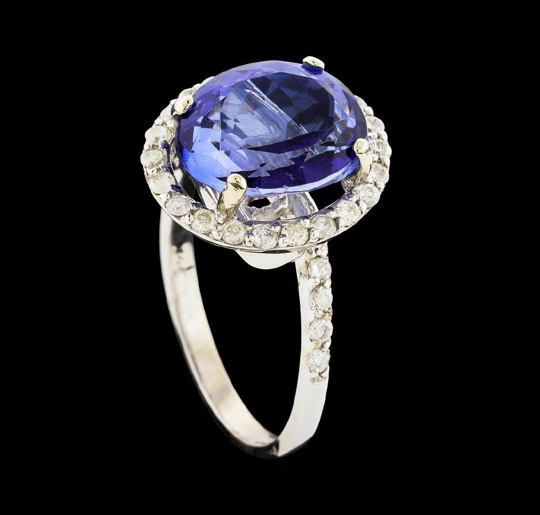 14KT White Gold 5.13ct Tanzanite and Diamond Ring - 4