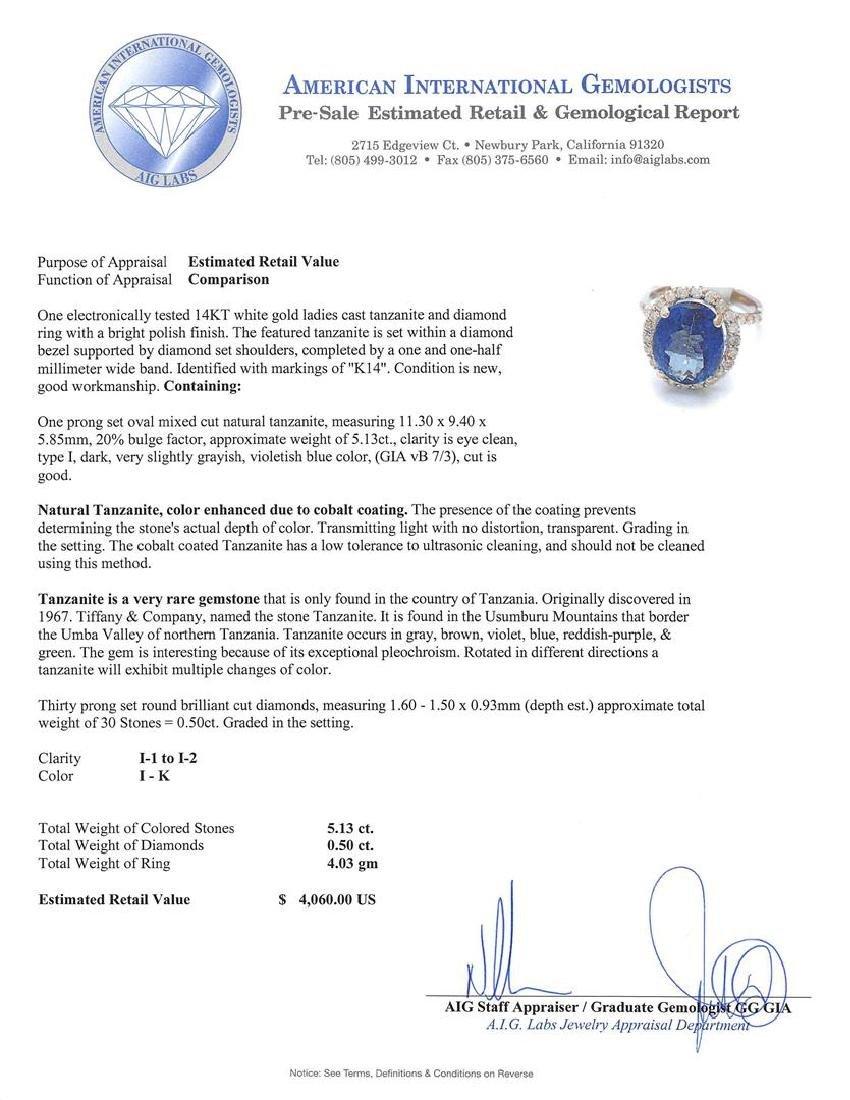 14KT White Gold 5.13ct Tanzanite and Diamond Ring - 5