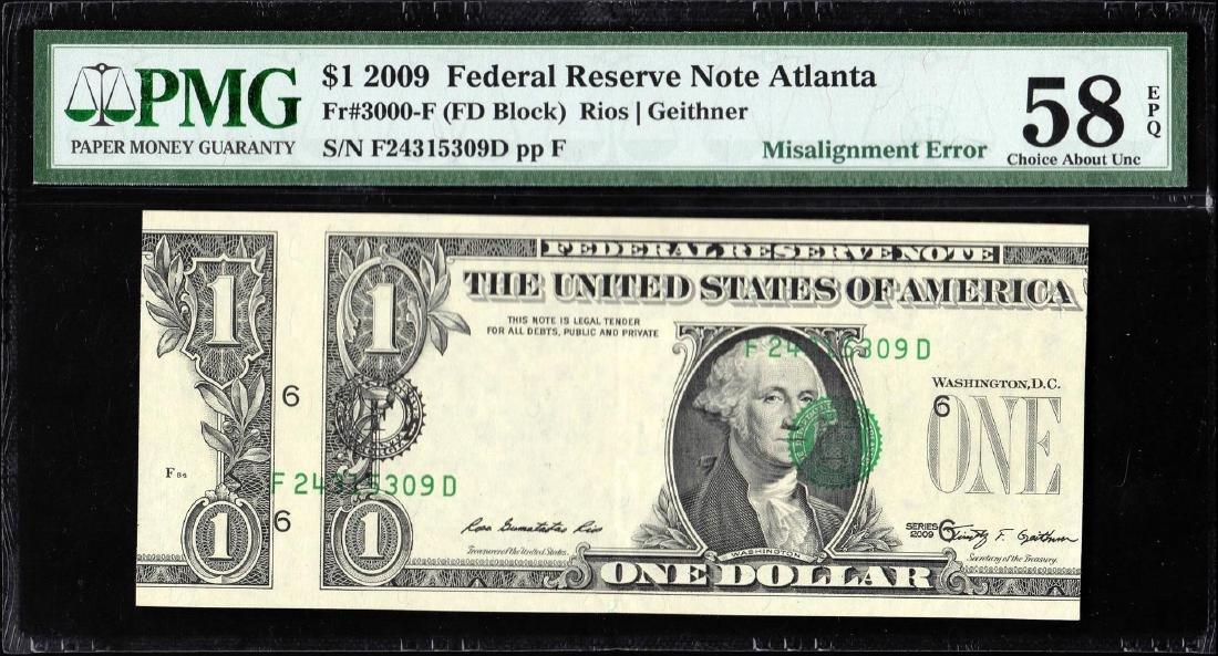 2009 $1 Federal Reserve Note Atlanta Misalignment ERROR