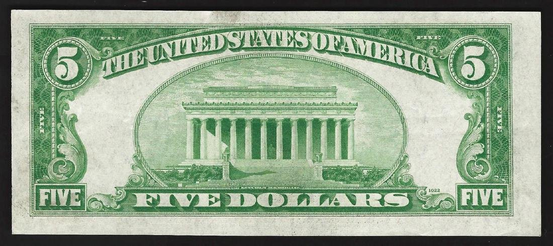 1934A $5 Silver Certificate Note - 2
