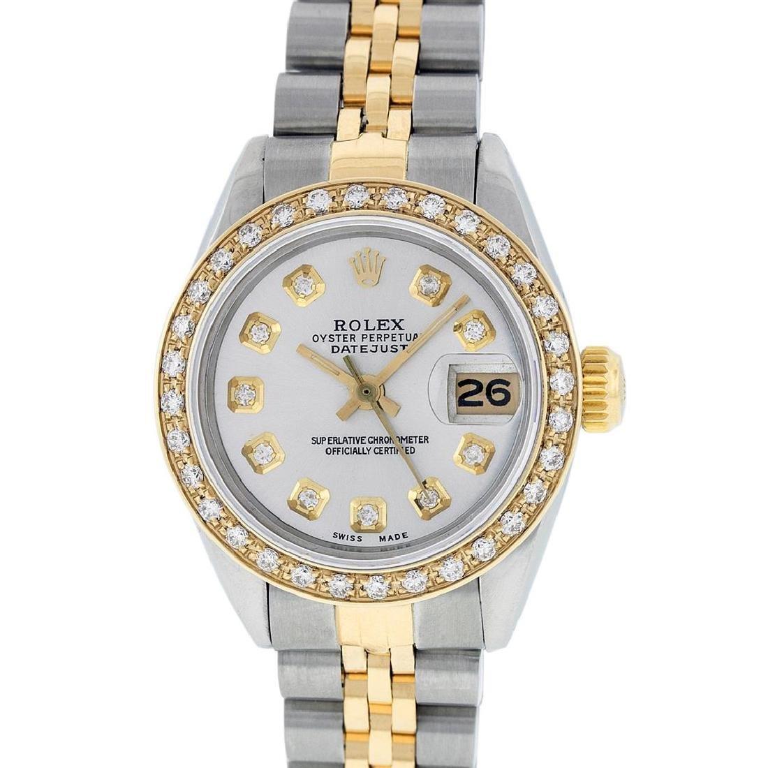 Rolex Ladies Two Tone 14KT Yellow Gold 0.70ctw Diamond
