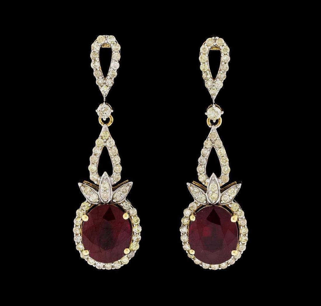 14KT Yellow Gold 10.95ctw Ruby and Diamond Earrings