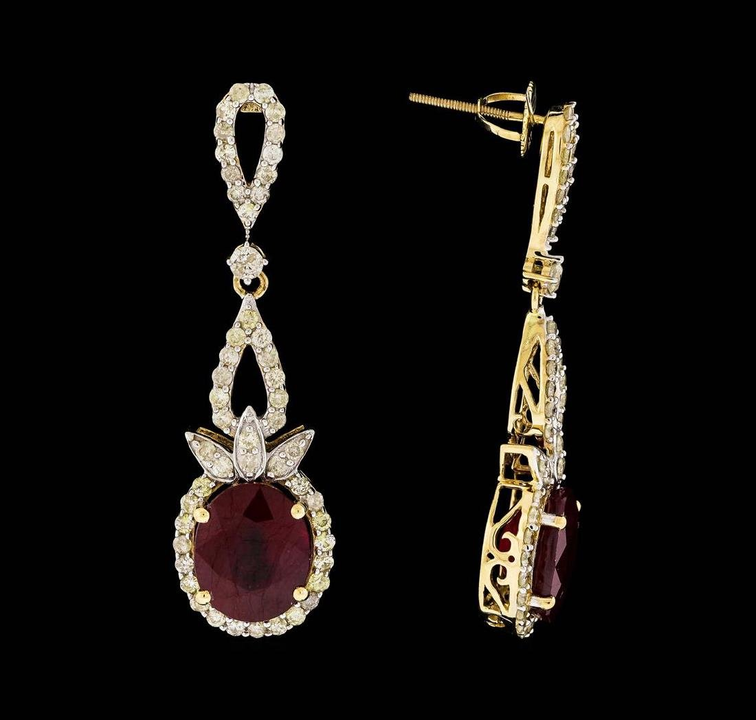 14KT Yellow Gold 10.95ctw Ruby and Diamond Earrings - 2