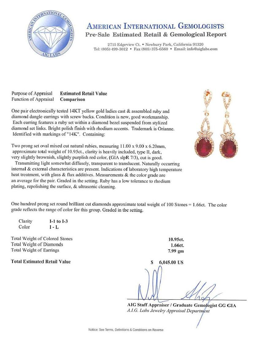 14KT Yellow Gold 10.95ctw Ruby and Diamond Earrings - 3