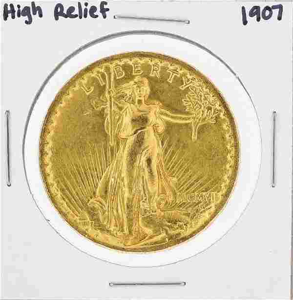 1907 $20 St. Gaudens High Relief Double Eagle Gold Coin