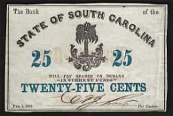 1863 State of South Carolina TwentyFive Cents Bank