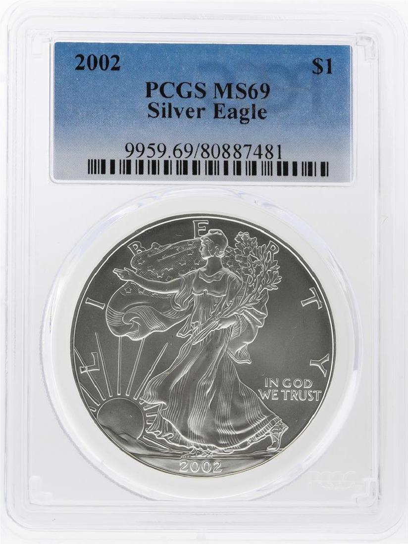 2002 $1 American Silver Eagle Coin PCGS Graded MS69