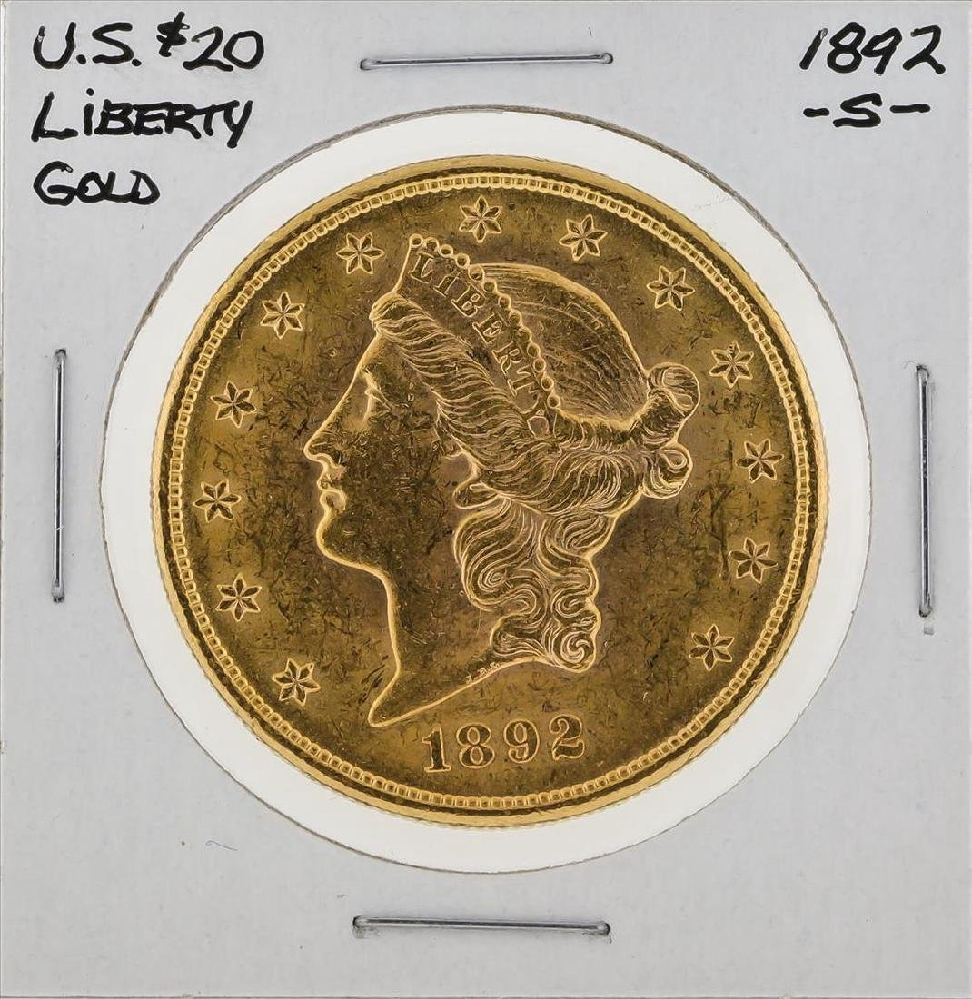 1892-S $20 Liberty Head Double Eagle Gold Coin
