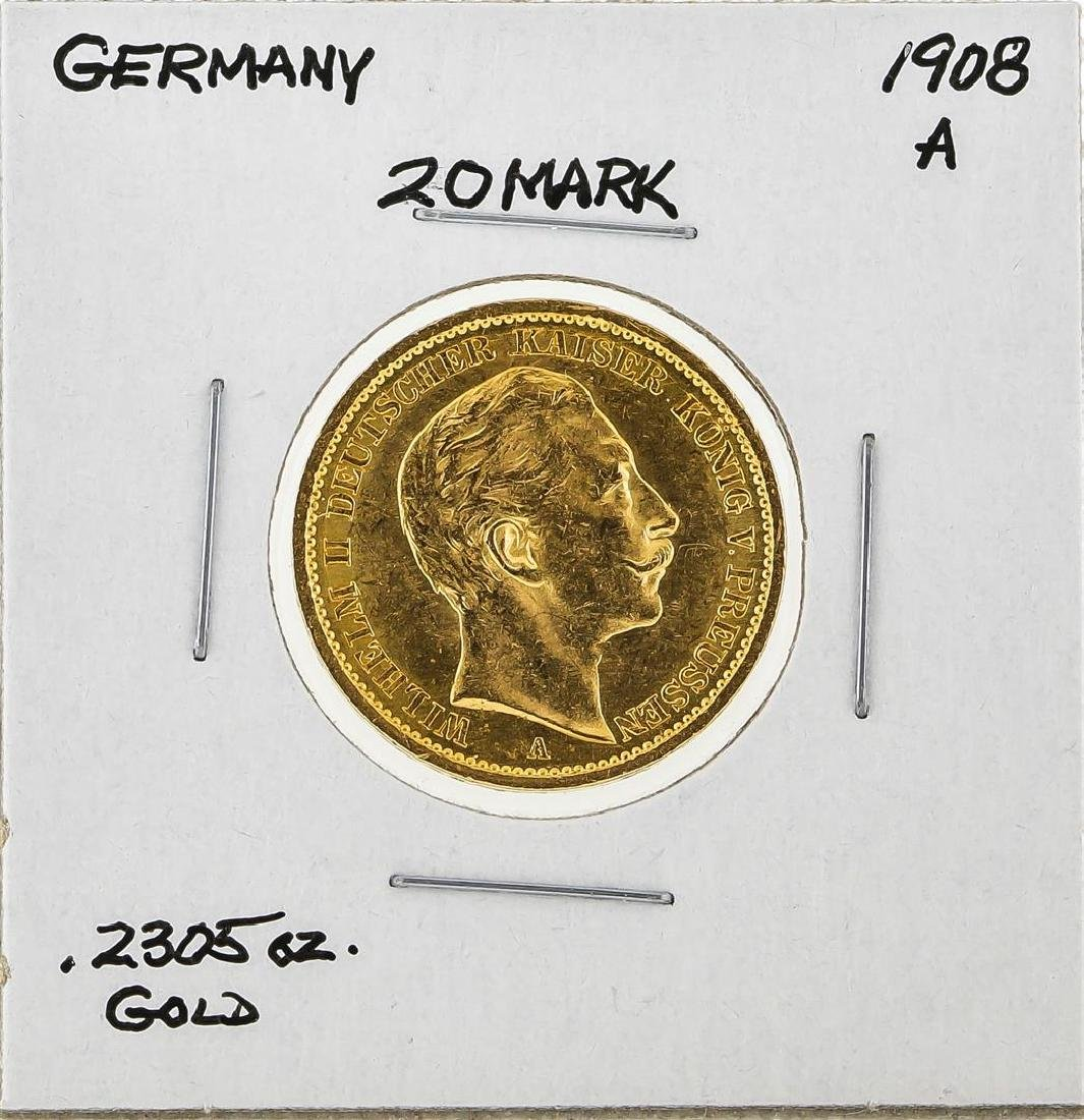 1908A Germany 20 Mark Gold Coin