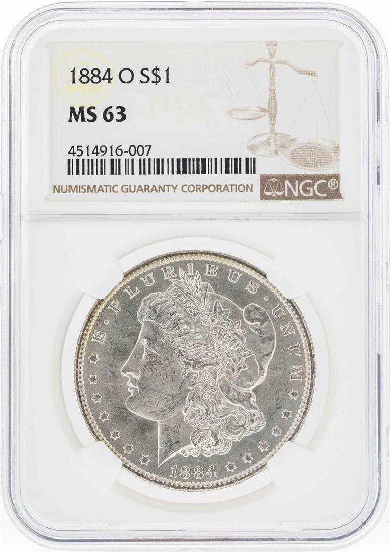 1884-O $1 Morgan Silver Dollar Coin w/ Nice Toning NGC