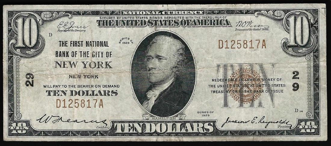 1929 $10 National Bank of the City of New York, NY