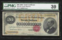 1882 $20 Gold Certificate Note PMG VF30