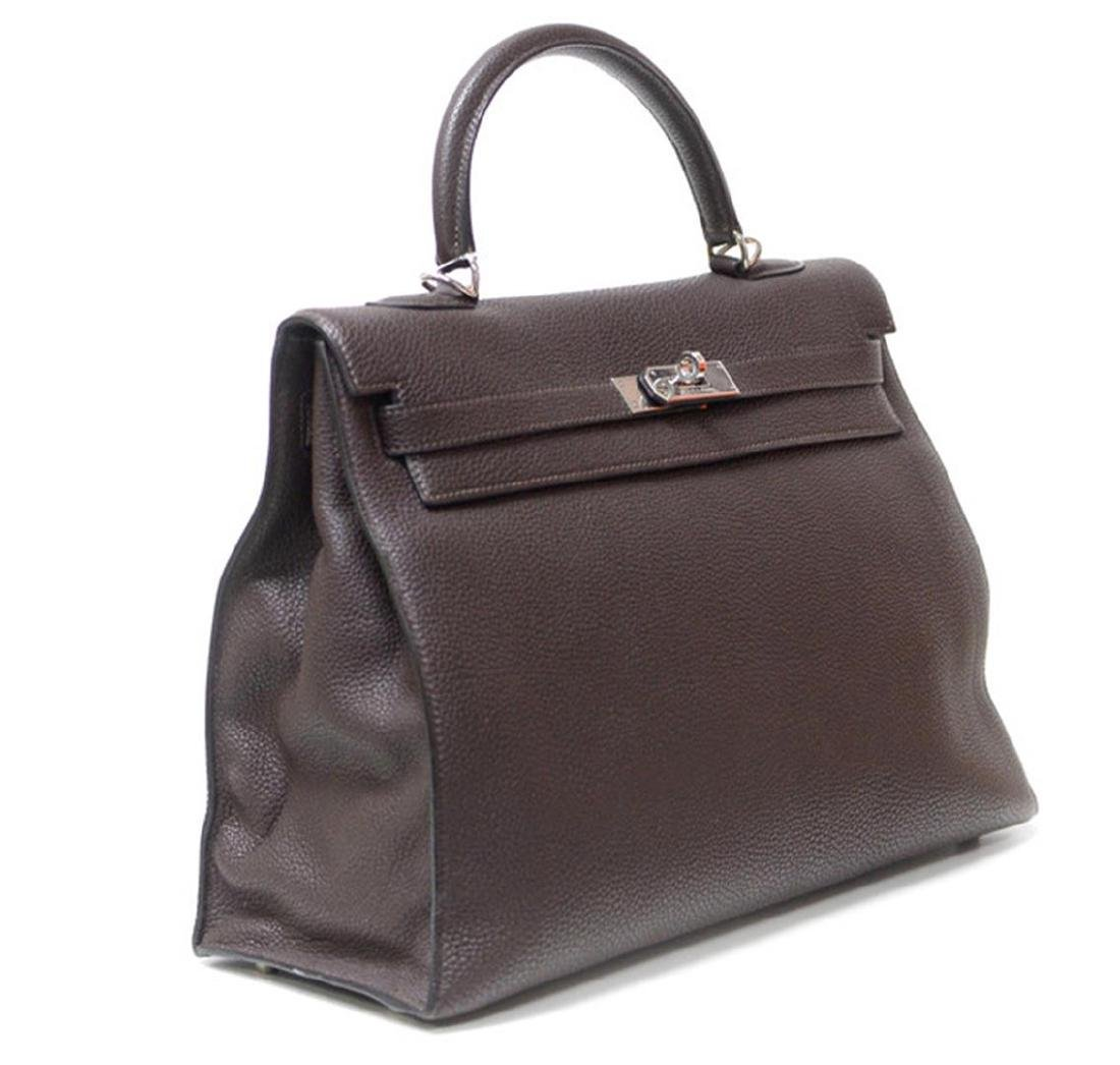 Authentic Hermes Kelly Bag 35cm Chocolate PHW - 2