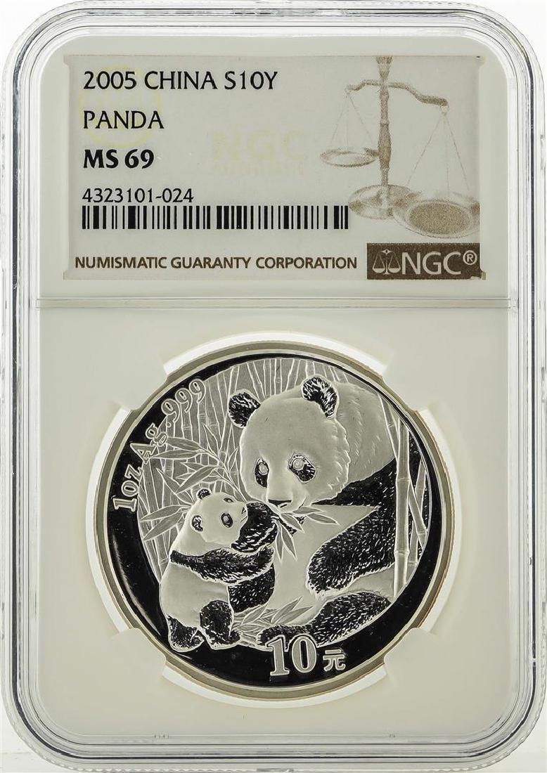2005 China 10 Yuan Silver Panda Coin NGC MS69