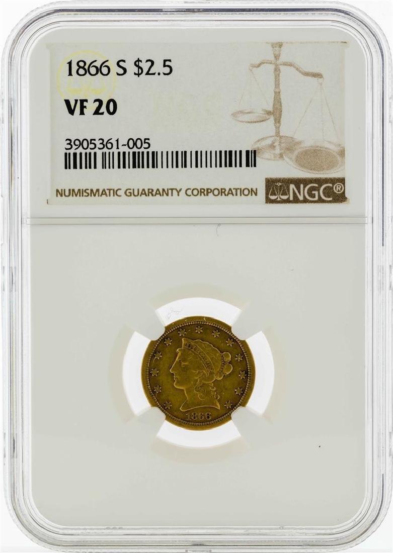 1866-S $2 1/2 Liberty Head Quarter Eagle Gold Coin NGC
