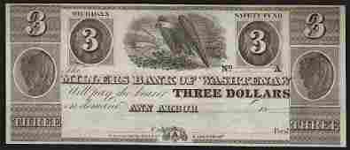 1800s 3 The Millers Bank of Washtenaw Obsolete Bank
