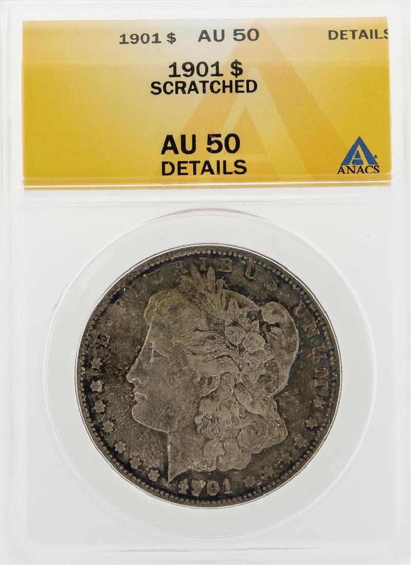 1901 $1 Morgan Silver Dollar Coin Scratched ANACS AU50