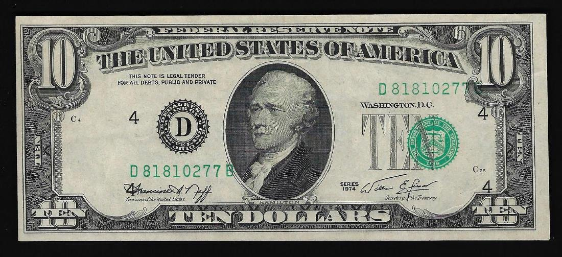 1974 $10 Federal Reserve Note Misalignment ERROR