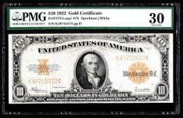 1922 $10 Gold Certificate Large Note PMG VF30