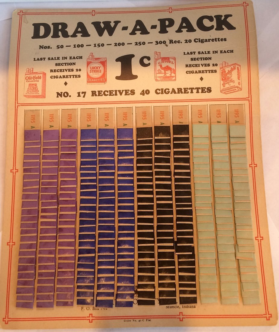 VERY RARE NOS DRAW-A-PACK PULL TAB 1 CENT NEVER USED