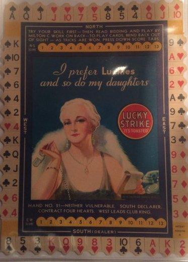 1930s LUCKY STRIKE GAME FLAT 50's GREEN TIN VERY RARE