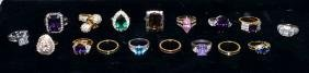 (17) LADIES COCKTAIL RINGS - Includes gold filled,