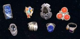 (8) STERLING RINGS - Includes Mexican Sterling; Total