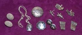 ASSORTED STERLING JEWELRY - Includes clip earrings and