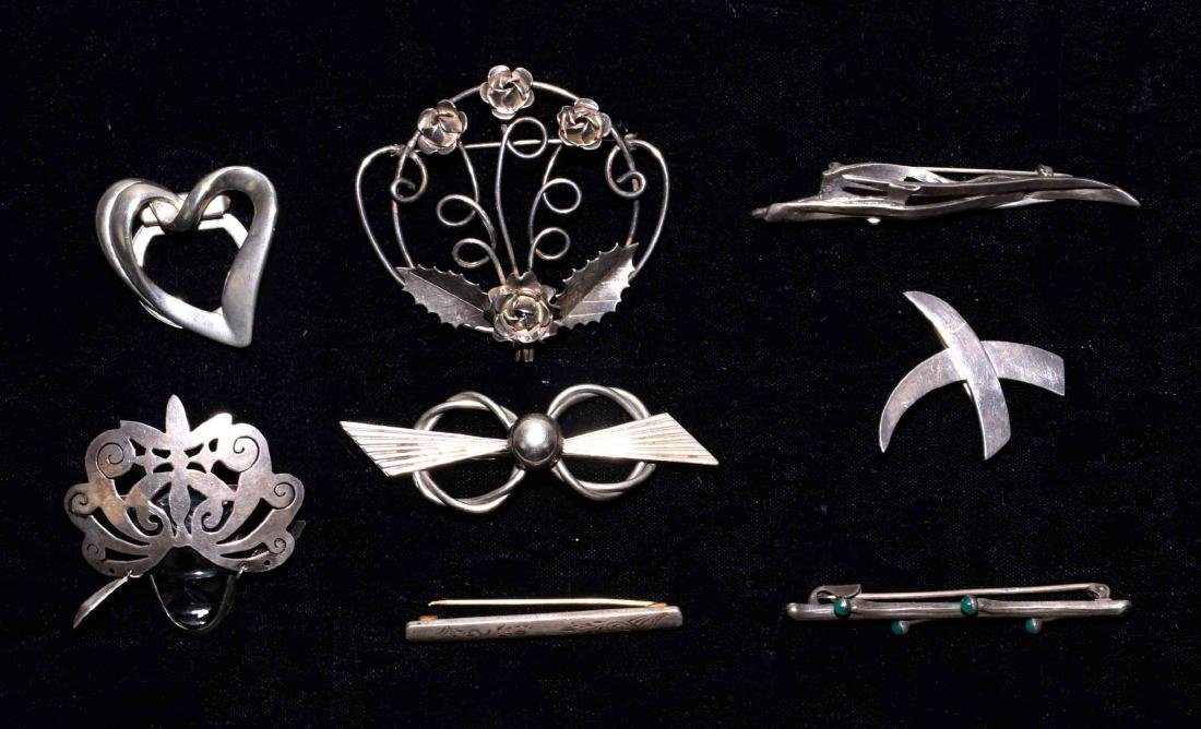 (8) STERLING BROOCHES - By Legro, Mexico and others;