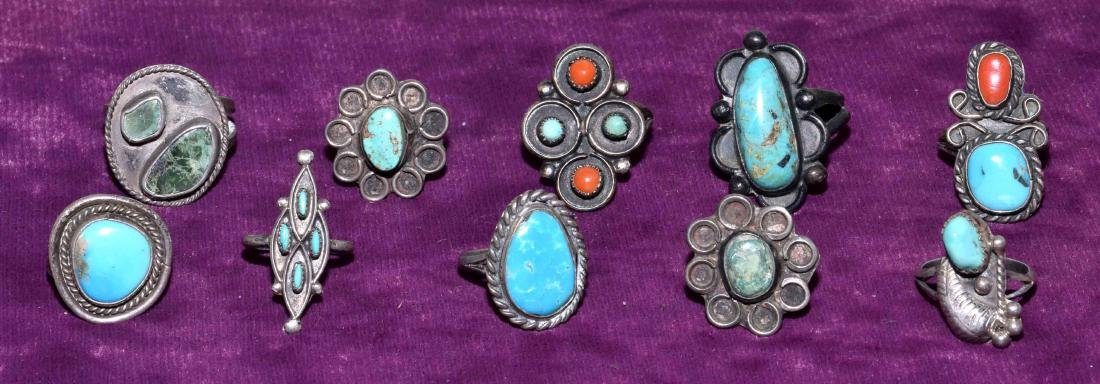 (10) ASSORTED SILVER, TURQUOISE AND CORAL RINGS -