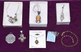 8pc ASSORTED STERLING COSTUME JEWELRY - Includes
