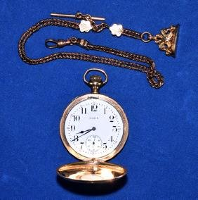 ELGIN 17 JEWEL GOLD FILLED POCKET WATCH AND FOB -