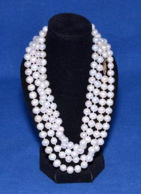 CULTURED PEARL 54'' OPERA LENGTH NECKLACE WITH 14k GOLD