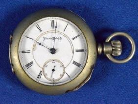 1879 ILLINOISE OPEN FACE POCKET WATCH - Silverine case;