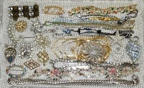 ASSORTED RHINESTONE JEWELRY - Includes necklaces, pins