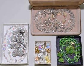 ASSORTED ROCK CRYSTAL AND AURORA BOREALIS JEWELRY -